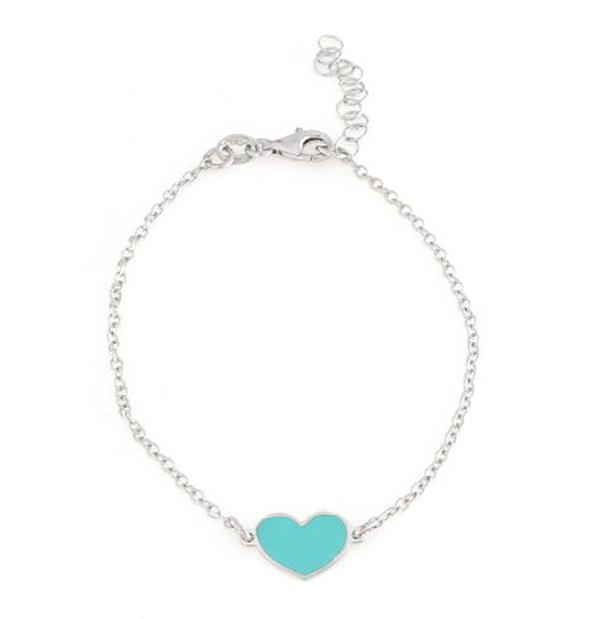Bracciale in argento 925 con cuore smaltato verde acqua argento bianco-0
