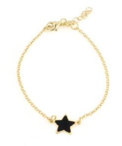 Bracciale in argento 925 con stella nera smaltata-0