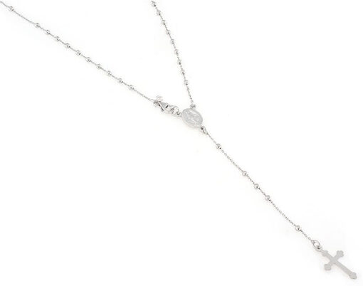 Collana rosario in argento 925 con medaglina della madoninna e croce gotica-0