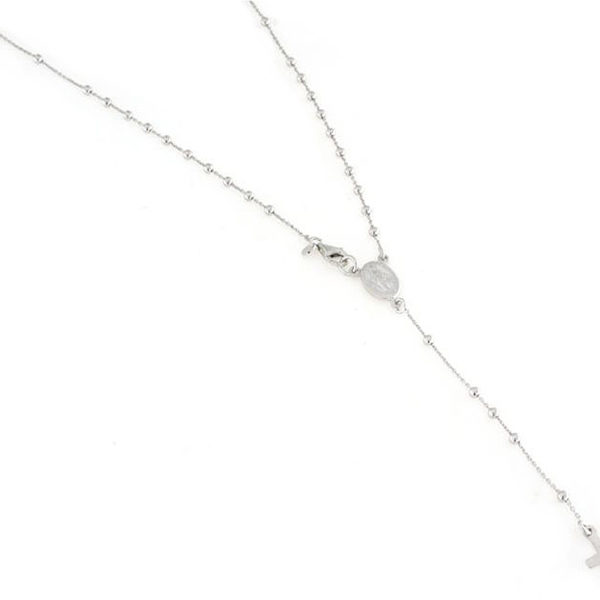 Collana in argento 925 rosario liscio con medaglia e croce-0