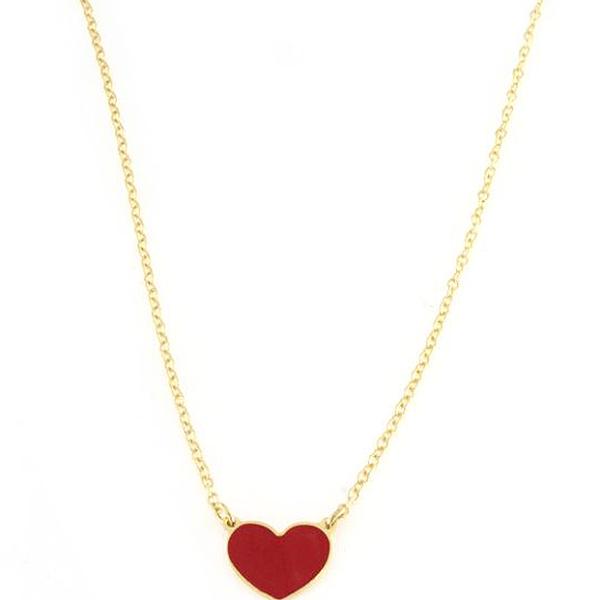 Collana in argento 925 con cuore rosso smaltato argento dorato-0