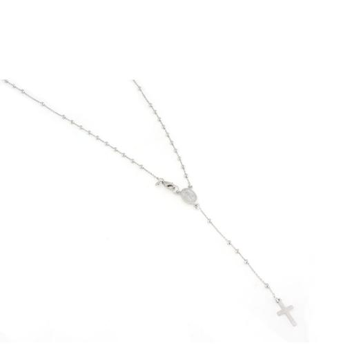 Collana in argento 925 rosario faccettato con croce e medaglia madonnina-0