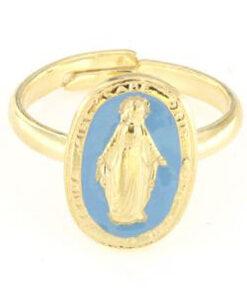 Anello regolabile in argento 925 madonna miracolosa smaltata celeste-0