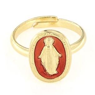 Anello regolabile in argento 925 madonna miracolosa smaltata rosso-0