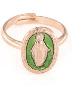 Anello regolabile in argento 925 madonna miracolosa smaltata verde chiaro-0
