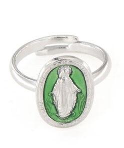 Anello regolabile in argento 925 con madoninna smaltata verde -0