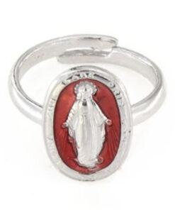 Anello regolabile in argento 925 madonnina smaltata rosso-0