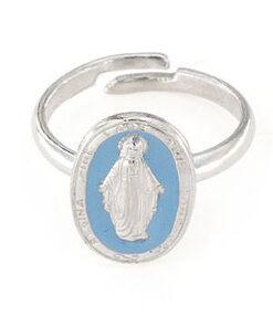 Anello regolabile in argento 925 madonna smaltata celeste -0