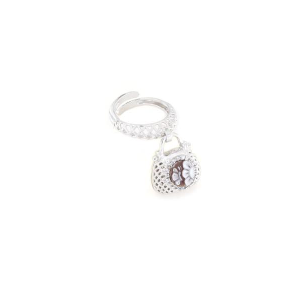 Anello in argento 925 regolabile traforato con cammeo sardonica -0