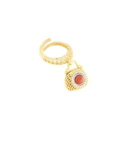 Anello regolabile in argento 925 con corallo rosso e zirconi argento dorato-0