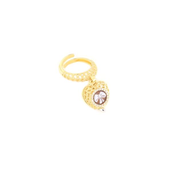 Anello regolabile in argento 926 con cammeo sardonica -0