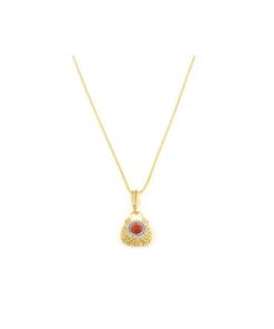 Ciondolo in argento 925 con corallo rosso e zirconi-0