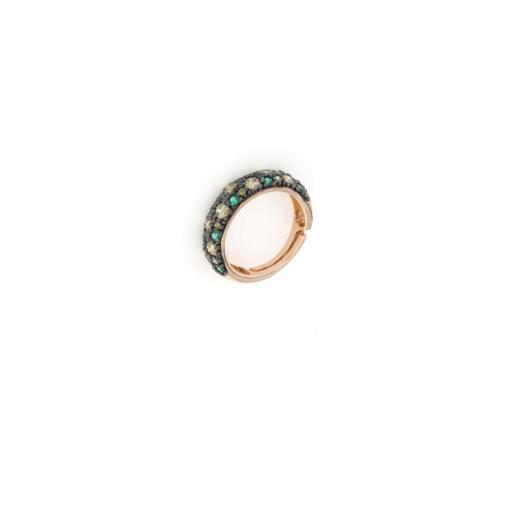 Anello regolabile in argento 925 zirconi verdi-0