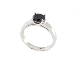 Anello in argento 925 e agata nera-0