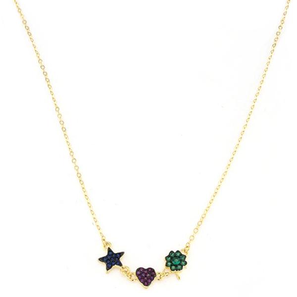 Collana in argento 925 stella cuore quadrifoglio -0