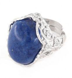 Anello regolabile in argento 925 pietra di lapis e zirconi-0
