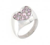 Anello regolabile a cuore in argento 925 con zirconi rosa-0