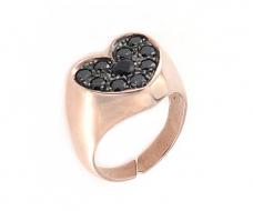 Anello regolabile a cuore in argento 925 con zirconi neri-0