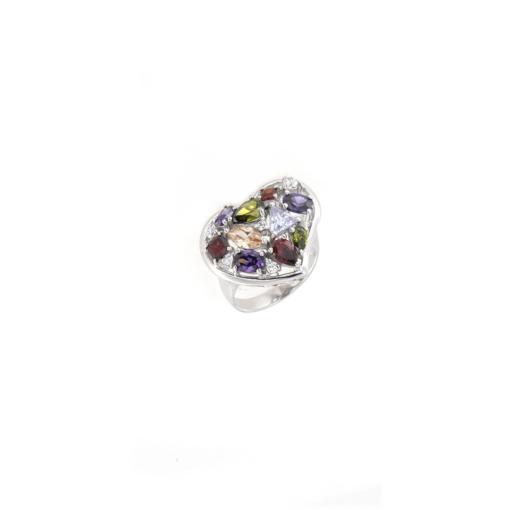 Anello in argento 925 a cuore zirconi colorati-0