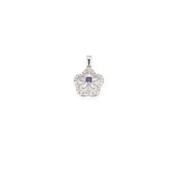 Ciondolo in argento 925 con zirconi bianchi e zircone viola -0