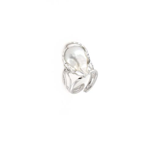 Anello regolabile in argento 925 con perla barocca-0