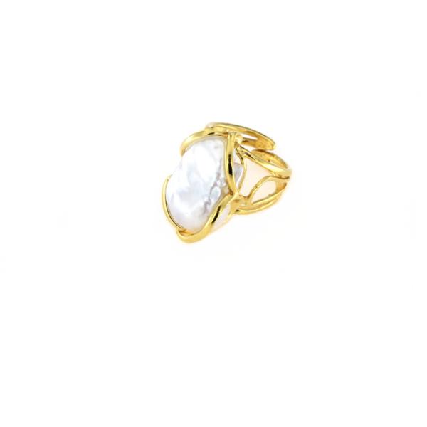 Anello regolabile in argento 925 con perla barocca -0