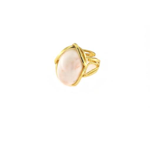 Anello regolabile in argento 925 con corallo rosa-0