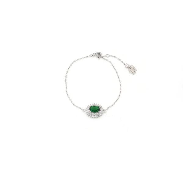 Bracciale in argento 925 con zircone centrale verde -0