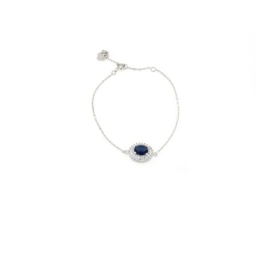 Bracciale in argento 925 con zircone centrale blu -0