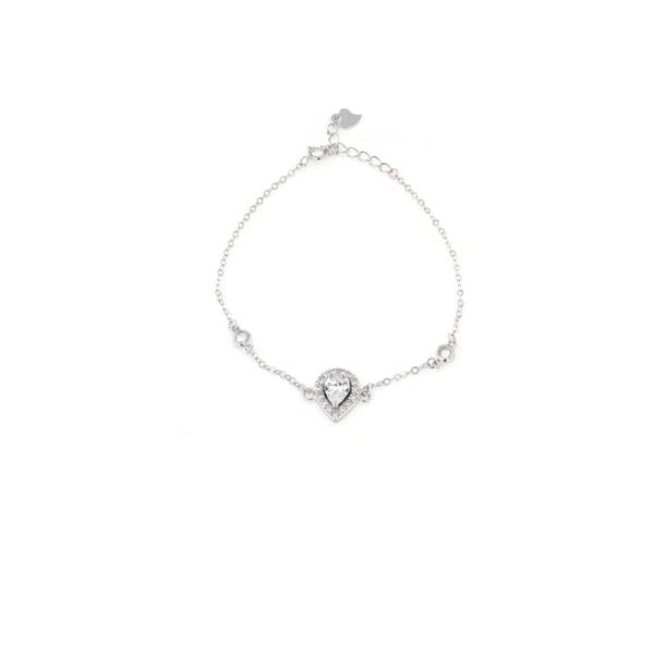 Bracciale in argento 925 con goccia diadema centrale e zirconi -0