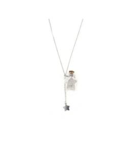 Collana in argento 925 stella di vetro con sabbia e stellina -0
