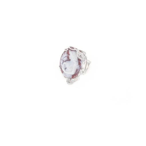 Anello regolabile in argento 925 con cammeo in agata e zirconi -0