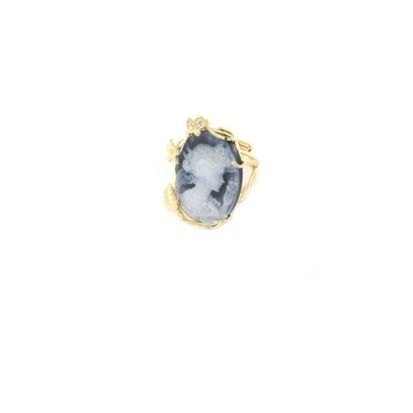 Anello regolabile in argento 925 con cammeo in agata-0