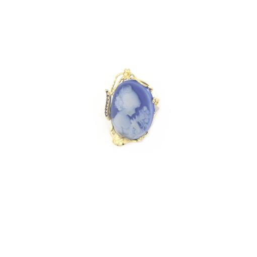 Anello regolabile in argento 925 con cammeo in agata -0