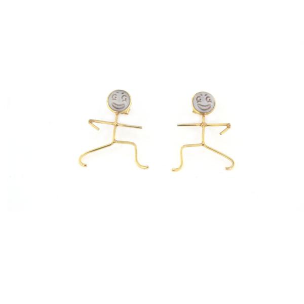 Orecchini a pressione in argento 925 omini con cammeo-0