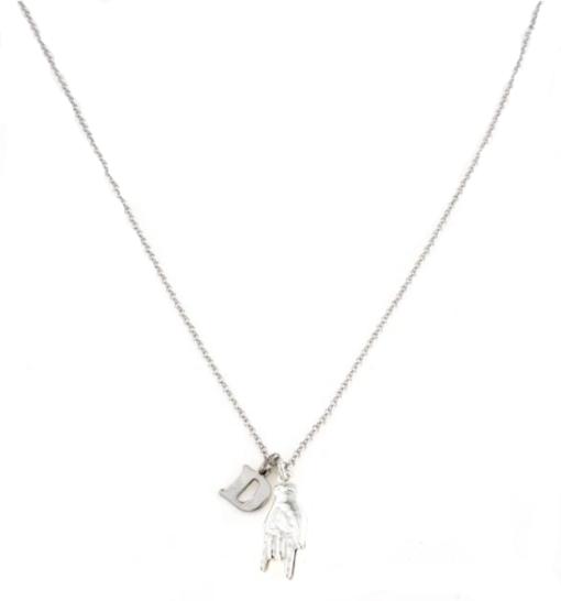 Collana in argento 925 mani e lettera D-0