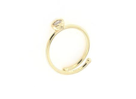 Anello regolabile in argento 925 con zircone -0