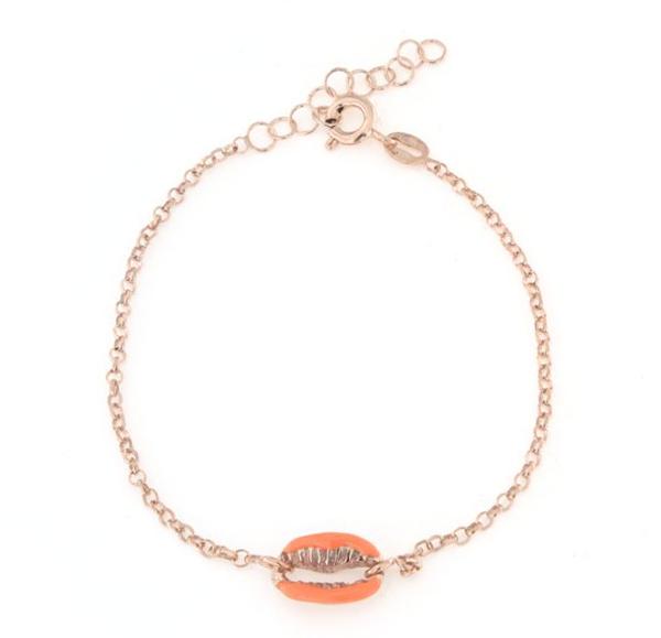 Bracciale in argento 925 con conchiglia smaltata arancione argento rosè-0