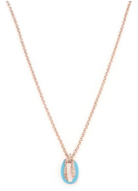 Collana in argento 925 con conchiglia smaltata celeste argento rosè-0