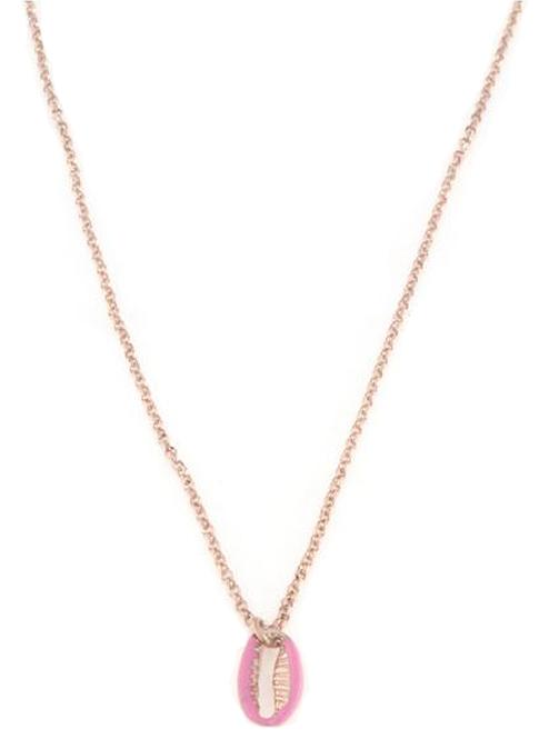 Collana in argento 925 con conchiglia smaltata rosa argento rosè-0