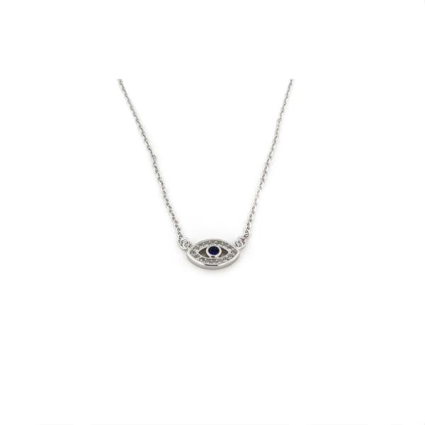 Collana in argento 925 occhio greco con zirconi blu e bianchi argento argento-0
