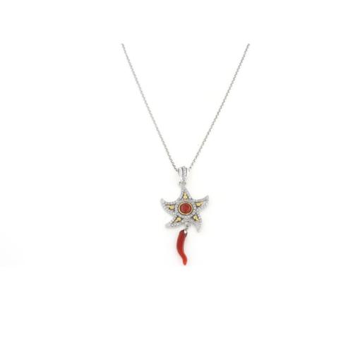 Ciondolo in argento 925 stella marina con zirconi e corallo rosso-0