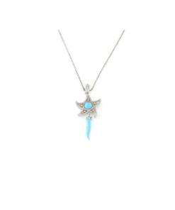 Ciondolo in argento 925 stella marina zirconi e pasta di turchese -0