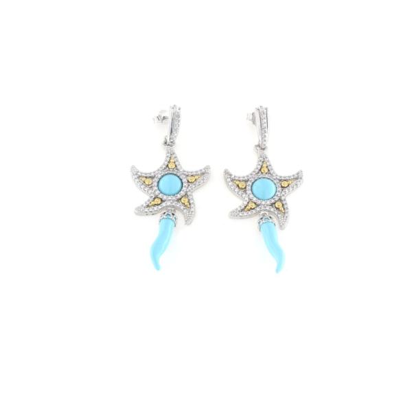 Orecchini in argento 925 stella marina e pasta di turchese-0