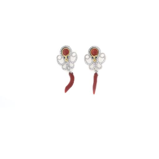 Orecchini in argento 925 con polipo zirconi e corallo rosso-0