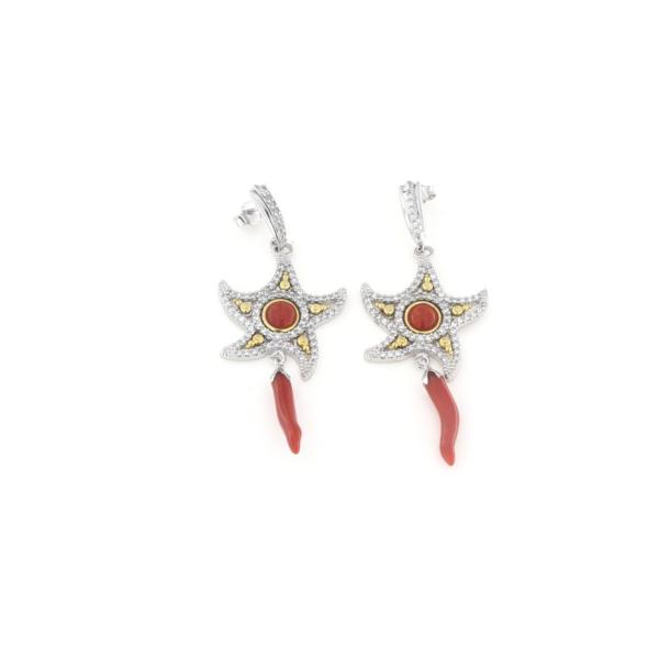 Orecchini in argento 925 con stella marina zirconi e corallo rosso -0