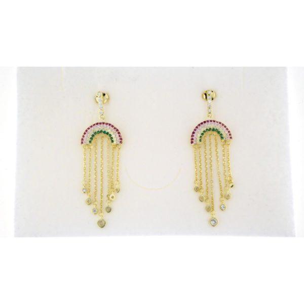 Orecchini in argento 925 arcobaleno e zirconi pendenti argento dorato-0
