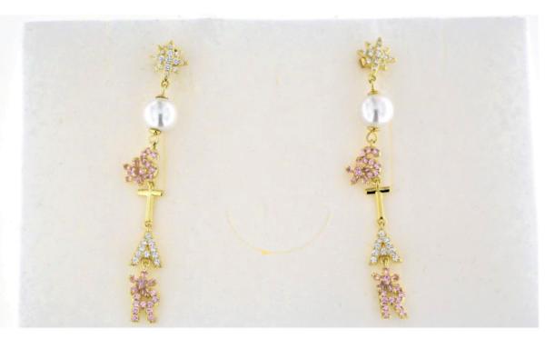 Orecchini pendenti in argento 925 con perle e zirconi scritta star argento dorato-0