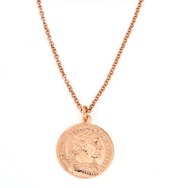 Collana con moneta in argento 925 rosè-0