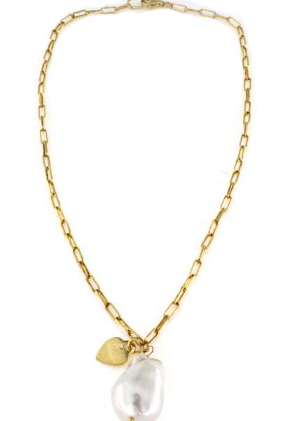 Collana con perla FWP barocca naturale e cuore in argento 925 dorato -0